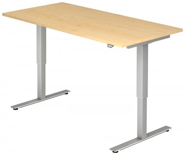 Schreibtisch XMST16, 160 cm, elektrisch höhenverstellbar, T Fuß-Gestell silber