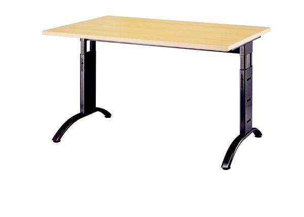 Schreibtisch gerade 120 cm, C-Fuß Gestell in Schwarz