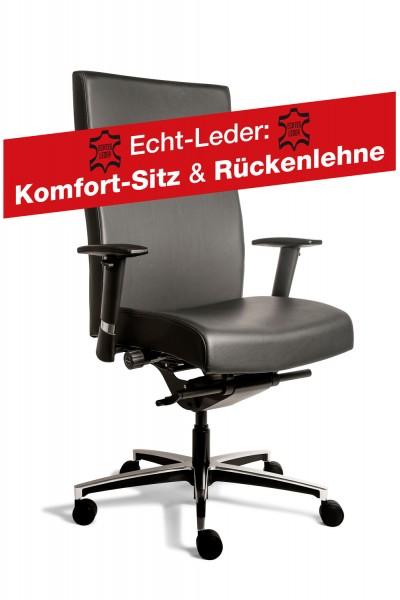 Manager XL Chefsessel - schwarz - Echtleder: Komfort-Sitz und Rückenlehne