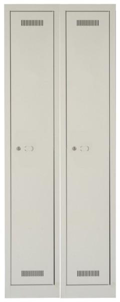 MonoBloc Garderobenschrank, 2 Abteile, einstöckig, lichtgrau