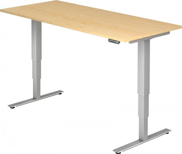 Schreibtisch XDSM19, 180 cm, elektrisch höhenverstellbar, T Fuß-Gestell silber