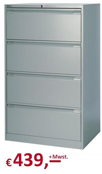 Bisley Hängeregistraturschrank DF4 mit Griffleiste - doppelbahnig - 4 HR-Schubladen - DIN A4 - silbe
