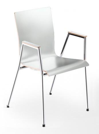 Besucherstuhl Cadeira - weiß, mit Armlehnen - Nowy Styl