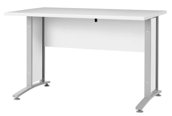 Schreibtischplatte 120 cm - Rechteckplatte mit Frontpaneel, weiss
