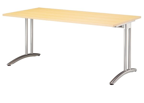 Schreibtisch gerade 160 cm, C-Fuß Gestell in Silber