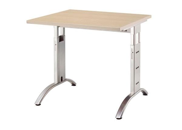 Schreibtisch gerade 80 cm, C-Fuß Gestell in Silber