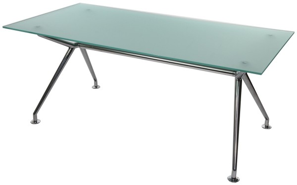 W-Table - 180 cm - Glas satiniert - Gestell poliert