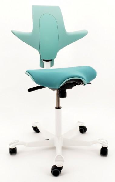 Drehstuhl Capisco Puls 8020 - sea green / weiß, inkl. Sitzflächenmatte - HAG