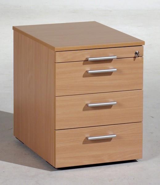 Rollcontainer 43 cm breit, 3 Kunststoff-Schubfächer, 1 Utensilienschub