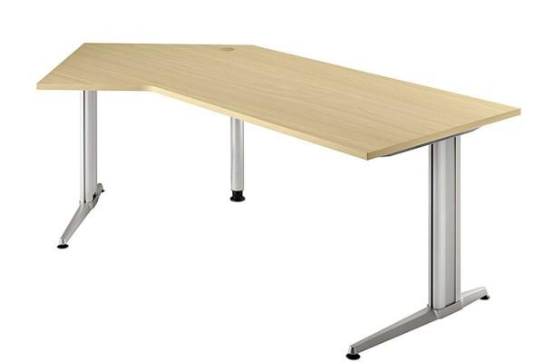 135° Winkel-Schreibtisch 210 cm, Designer-Tischfuß in Aluminium