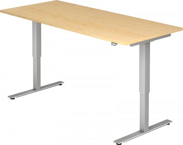 Schreibtisch XMST19, 180 cm, elektrisch höhenverstellbar, T Fuß-Gestell silber