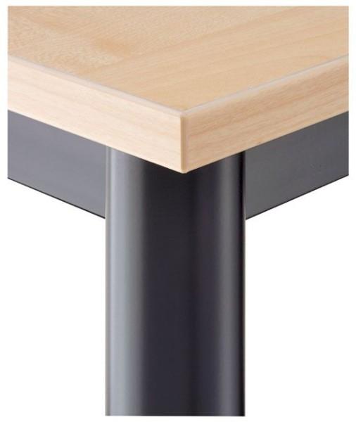 Konferenztisch gerade 120 cm, Tischfüße in Schwarz