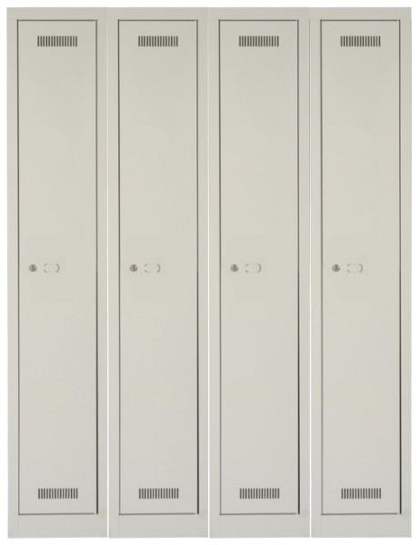 MonoBloc Garderobenschrank, 4 Abteile, einstöckig, lichtgrau
