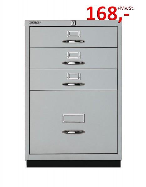 Bisley Schubladenschrank Serie F 050A355, 1 HR-Schublade, 3 Schubladen, silber glatt lackiert