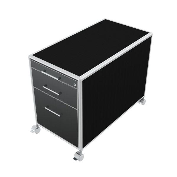 Rollcontainer - 1 Materialfach + 1 Schubkasten + 1 Hängeregister - Bosse Modul Space - schwarz
