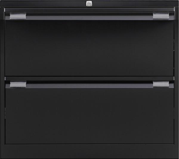 Hängeregistraturschrank mit Griffleiste, doppelbahnig, 2 HR-Schubladen, DIN A4