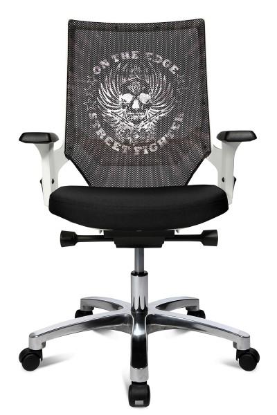 Drehstuhl Autosyncron Urban - schwarz/weiß mit Motiv Skull - Topstar