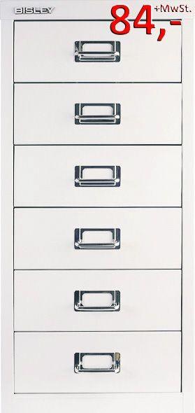 Bisley Schubladenschrank Multidrawers L296396, 6 Schubladen, DIN A4, verkehrsweiß glatt lackiert