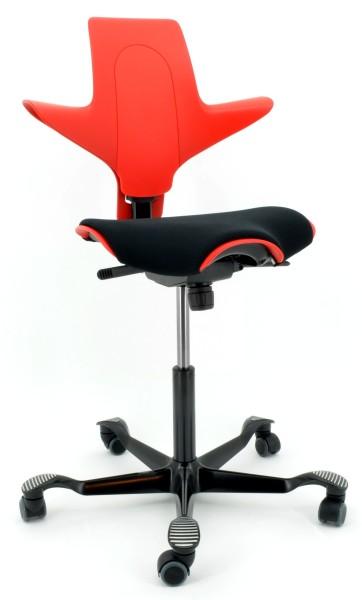Drehstuhl Capisco Puls 8020 - rot / schwarz, inkl. Sitzflächenmatte - HAG