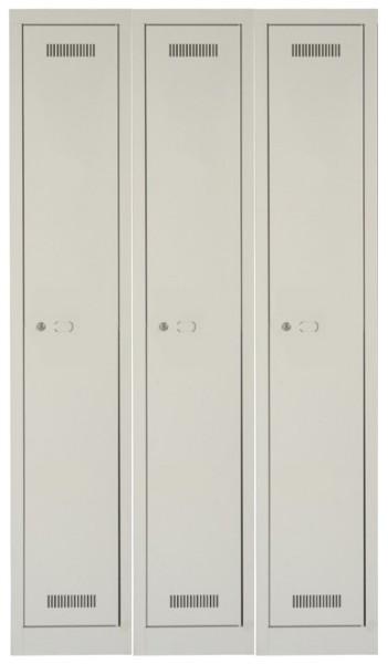 MonoBloc Garderobenschrank, 3 Abteile, einstöckig, lichtgrau