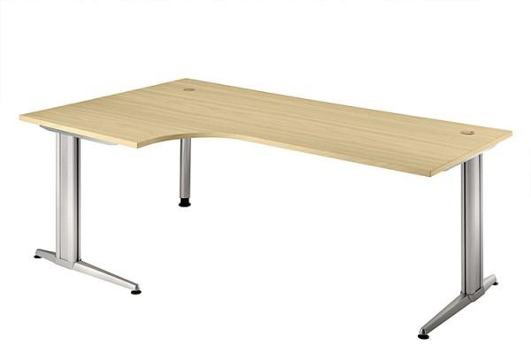 90° Winkel-Schreibtisch 200 cm, Designer-Tischfuß in Aluminium