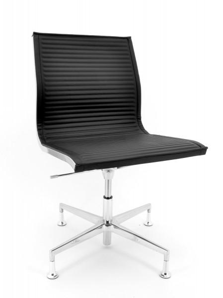 Luxy Konferenzstuhl Nulite - Leder schwarz, Rücken niedrig