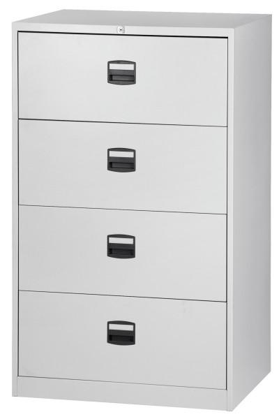 Hängeregistraturschrank Light, doppelbahnig, 4 HR-Schubladen, DIN A4, lichtgrau