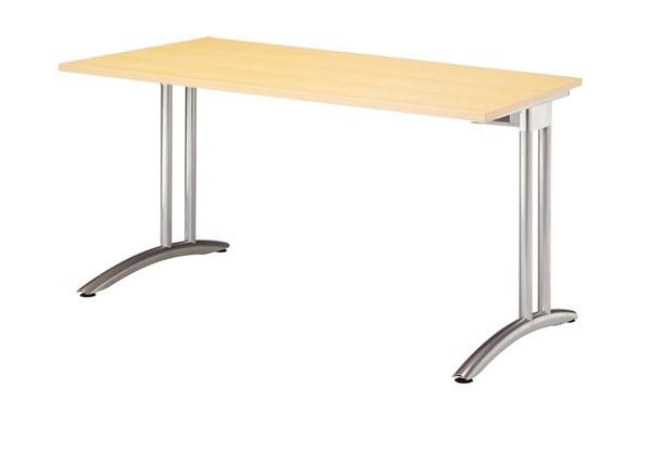 Schreibtisch gerade 120 cm, C-Fuß Gestell in Silber