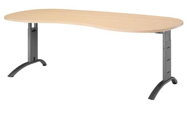 Schreibtisch Nierenform 200 cm, C-Fuß Gestell in Schwarz