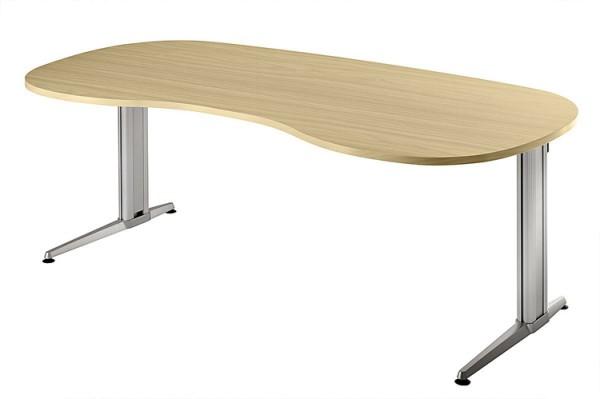Schreibtisch Nierenform 200 cm, Designer-Tischfuß in Aluminium