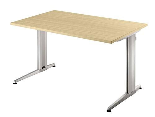 Schreibtisch gerade 120 cm, Designer-Tischfuß in Aluminium