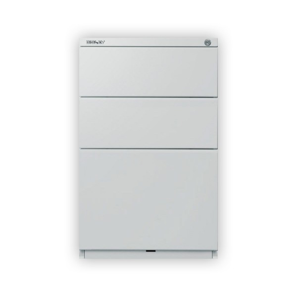 Bisley - Rollcontainer OBA52, 2 Schubladen à 150 mm, 1 HR-Schublade, 25 mm Abdeckplatte, silber