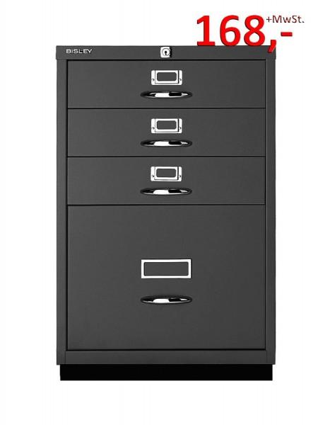 Bisley Schubladenschrank Serie F 050A333, 1 HR-Schublade, 3 Schubladen, schwarz glatt lackiert
