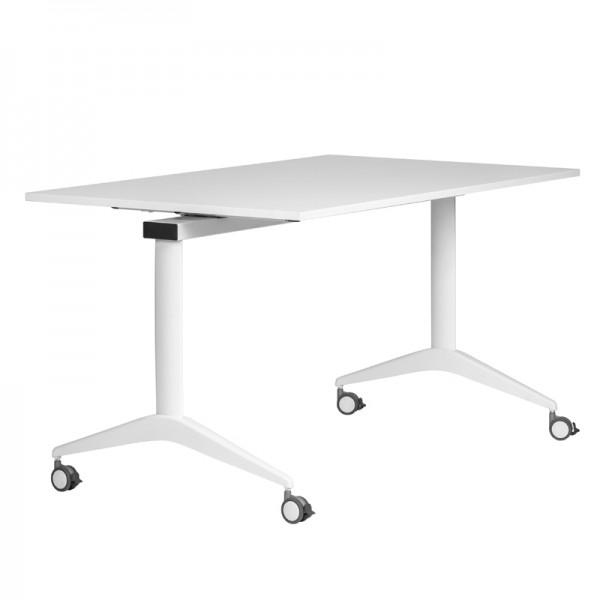 Konferenztisch FLIP-TOP 160 cm - rollbar, klappbar - weiß