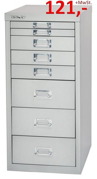 Bisley Schubladenschrank Multidrawers L298855, 8 Schubladen, DIN A4, silber glatt lackiert