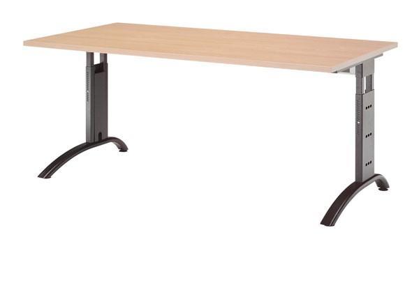 Schreibtisch gerade 160 cm, C-Fuß Gestell in Schwarz
