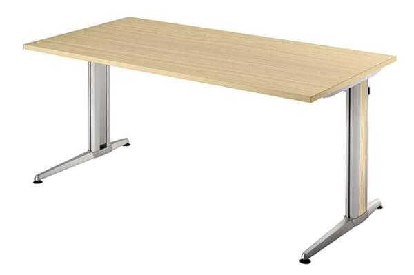 Schreibtisch gerade 180 cm, Designer-Tischfuß in Aluminium