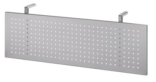 Sichtblende in Silber für Schreibtisch gerade 120 cm und Trapezeckplatte