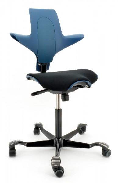 Drehstuhl Capisco Puls 8020 - petroleum / schwarz, inkl. Sitzflächenmatte - HAG