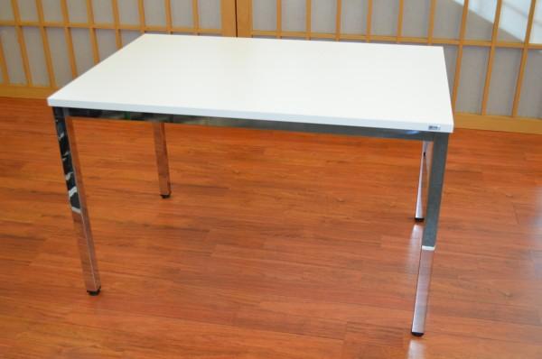 Schreibtisch - 120 cm - weiß / Chrom - Heyne