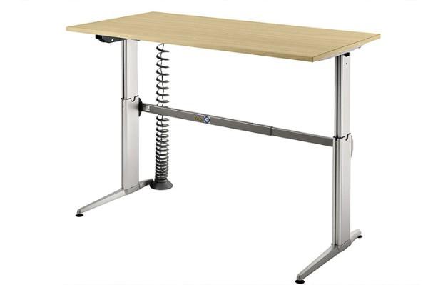 Schreibtisch gerade 160 cm, elektrisch höhenverstellbar, Designer-Tischfuß in Aluminium