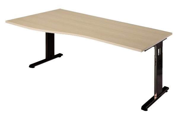 PC-Schreibtisch Freiform rechts 180 cm, C-Fuß Gestell in Schwarz