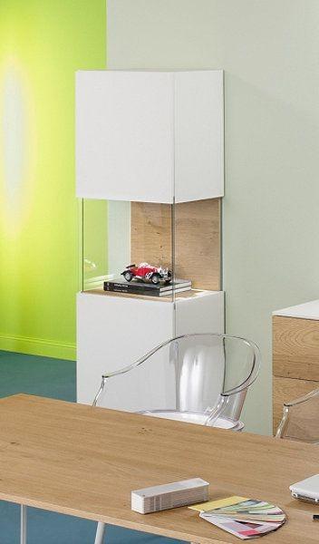 Vitrine Macy, inkl. LED Beleuchtung, weiß - Eiche, Reinhard