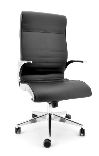 Luxy Chefsessel Synchrony - Leder schwarz, Rücken hoch