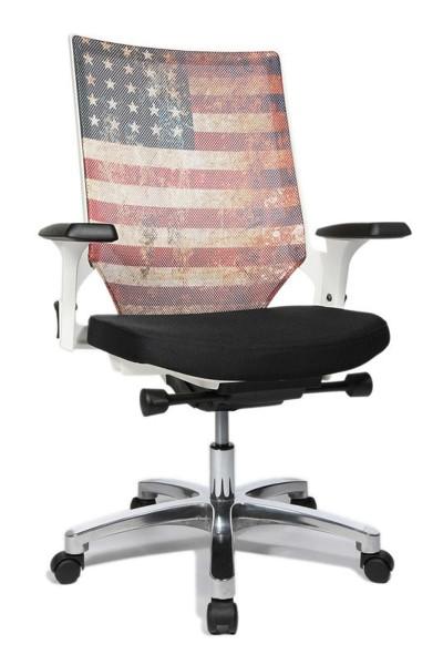 Drehstuhl Autosyncron Urban - schwarz/weiß mit Motiv USA - Topstar