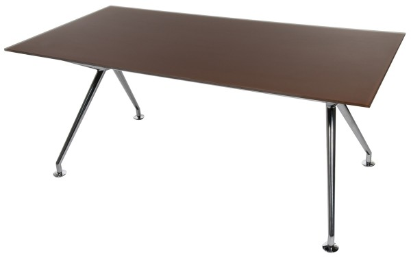 W-Table - 180 cm - Glas schokobraun satiniert - Gestell poliert