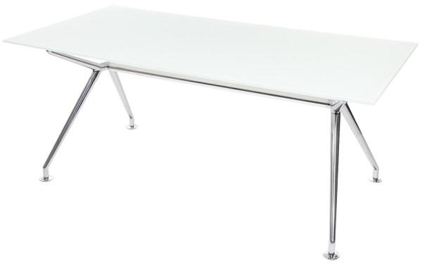 W-Table - 180 cm - Glas weiß satiniert - Gestell poliert